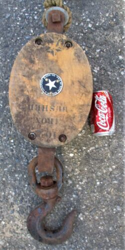 ANTIQUE BOSTON LOCKPORT BLOCK CO USA CAST IRON NAUTICAL MARITIME SEA SHIP PULLEY