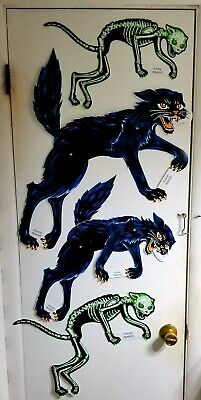 4LG BEISTLE HALLOWEEN BLACK CATS & SKELETON CATS-REPROS-VINTAGE 1973&76-DESIGNS! - 4 Cats Halloween