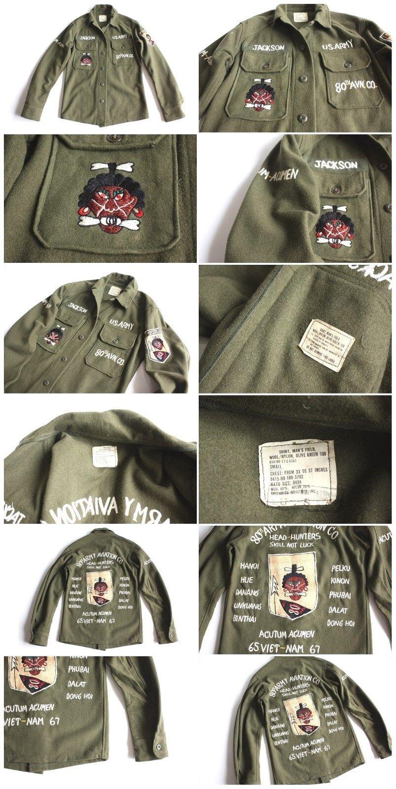 VTG OG-108 + Custom Embroidered WOOL FIELD MILITARY ARMY SHIRT SOUVENIR  JACKET