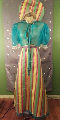 Vintage Costume Psychedelic Little Bo Peep Set with Day Glo NEON Broom Skirt (Peep Costumes)
