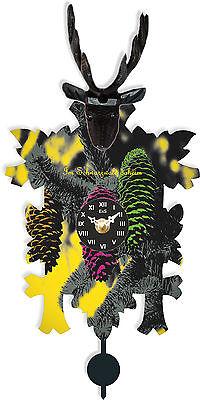 Moderne Kuckucksuhr bunt Tannenzapfen Wanduhr Uhr mit schwarzem Hirschkopf NEU
