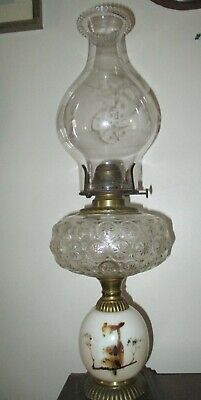 VINTAGE OIL LAMP W/SHADE * OWL DESIGN PAINTED ON BOTTOM * E. MILLER CO. USA