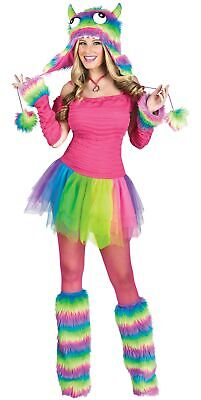 Rockin' Rainbow Monster Neon Furry Rave Club Wear Adult Women's Costume SM-LG](Rave Costumes For Women)