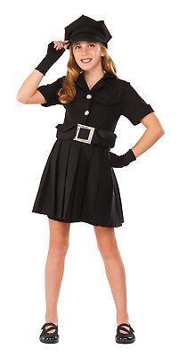 Girls Police Chief Costume Black Police Dress Child Size Medium 8-10