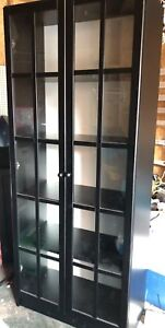 IKEA Billy bookcase with doors - black