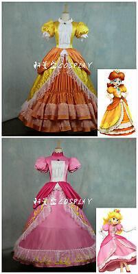 Super Mario Princess Daisy Costume Sisters Adult Women Cosplay Dress Bros Luigi ](Adult Princess Daisy Costume)