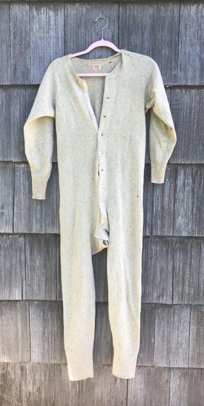 Vintage Menswear 40s 50s Faith Mills 100% Wool back flap Underwear Union Suit