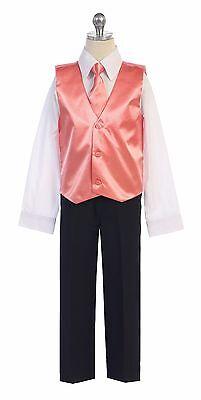 Boys & Men Formal Satin Vest for Tuxedo Suit with Necktie Made in USA Ships Fast (Boys In Tuxedo)