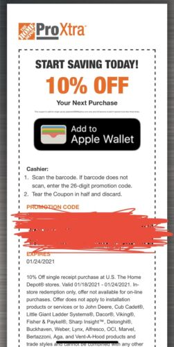 Home Depot 10 In Store Coupon Up To 200 Discount Exp 1/24/21 - $18.95