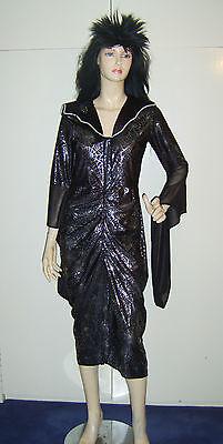 Ladies Black Widow Witch Spiderella Spider Lady Fancy Dress Costume M USED***
