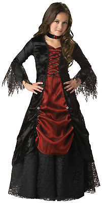 Gothik Vampira Kinder Mädchen Kostüm Gepflegt Spitze Panne Kostüm - Vampira Kinder Kostüm
