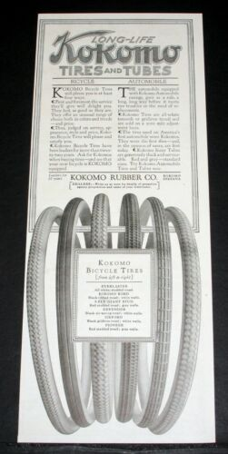 1918 OLD MAGAZINE PRINT AD, LONG-LIFE KOKOMO AUTOMOBILE & BICYCLE TIRES, TUBES!