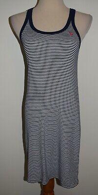 Ralph Lauren Tank Dress Blue White Striped Sleeveless Pima Cotton Coverup Medium