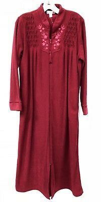 Red Fleece Bath Robe (Miss Elaine Size Medium Cranberry Red Terry Maxi Bath Robe Fleece Lined Womens )