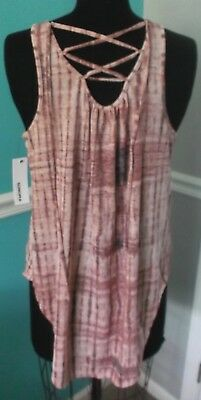 SONOMA PINK MULTI-COLOR SLEEVELESS TOP - CRISS CROSS TIE BACK - MEDIUM - NWT