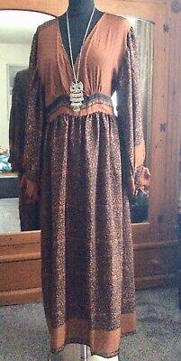 🦋Indian Saree Silk Midi Dress Boho Vintage 70s Bohemian Hippie Folk 14/16 🦋