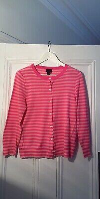 J Crew Womens Italian Cashmere Pink Striped Cardigan L