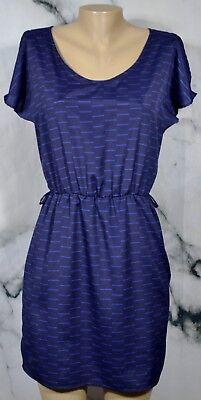 Aqua Blau Flügelärmel Kleid Medium Elastische Taille Rock Kalte Schulter (Medium, Blau Kleid)