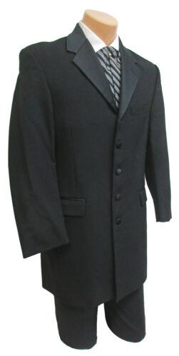 Mens Black Claiborne Tuxedo Frock Coat Formal Victorian Steampunk Gothic 36 Long