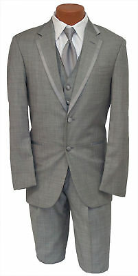 Calvin Klein Mens Gray Legend Tuxedo Suit w Matching Pant Silver Prom Tux Set - Prom Suit