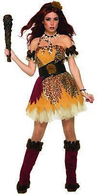 Captivating Cave Girl Costume Woman Halloween Leopard Fancy Dress Prehistoric OS ()