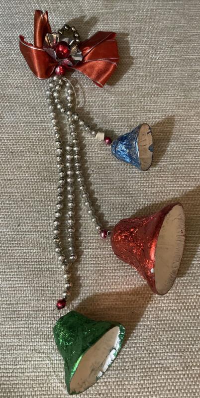 Vintage Christmas Foil & Mica Paper Mache Bells w/ Mercury Glass Bead Strands