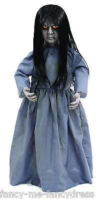 80cm Motion Sensitive Light Up & Sounds Grey Possessed Halloween Doll Decoration