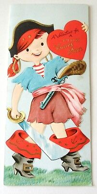 Used Vtg Large Valentine Card Cute Boy Dressed up as a Pirate  (Dress As A Pirate)