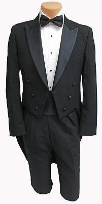 Mens Tailcoat (Men's Black Tuxedo Tailcoat 100% Wool with Satin Peak Lapel Formal Wedding)