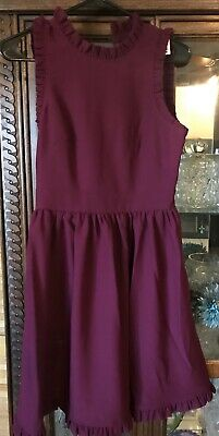 Kate Spade NWT Ma Cherie Deep Berry Ruffled Trim Fit and Flare Dress Size 2