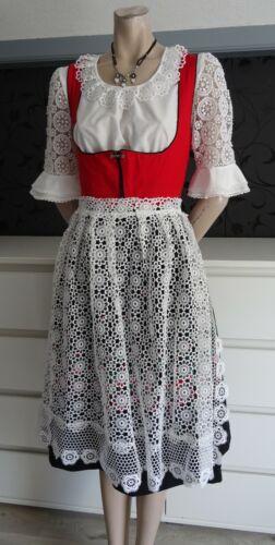 Vintage  Bavarian German Authentic Dirndl Dress  Lacy Apron 8
