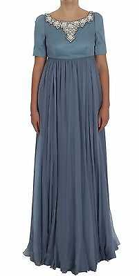 NWT $16200 DOLCE & GABBANA Dress Blue Silk Crystal Sheath Gown Ball IT40/ US6 /S