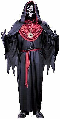 Zombie Skeleton Costume (Mens Emperor of Evil Costume DELUXE Reaper Robe Mask Zombie Skeleton Adult)