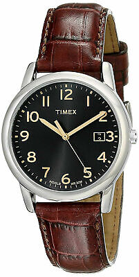 Timex T2N948, Men's Easy Reader, Brown Leather Watch, Date, Indiglo