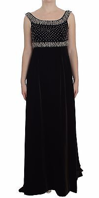 NWT $7800 DOLCE & GABBANA Dress Brown Velvet Crystal Sheath Gown IT40/ US6 / S