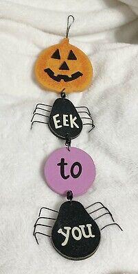 Walgreens, Halloween Wooden Pumpkin and Spider Eek To You Door/Wall Decoration