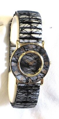 LADIES GRAY/SILVER &BLACK EXPANSION WATCH*ROMAN NUMERALS*BAND STAINLESS STRETCH  Ladies Black Band