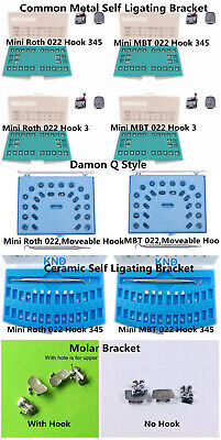Dental Orthodontic Self Ligating Brackets Ceramic Metal Braces Tube Roth Mbt 022