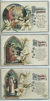 3 CHROMOLITH PC's 1910's HAPPY EASTER Arches VERSE Jesus & Lamb Series No. (Happy Holidays Arch)