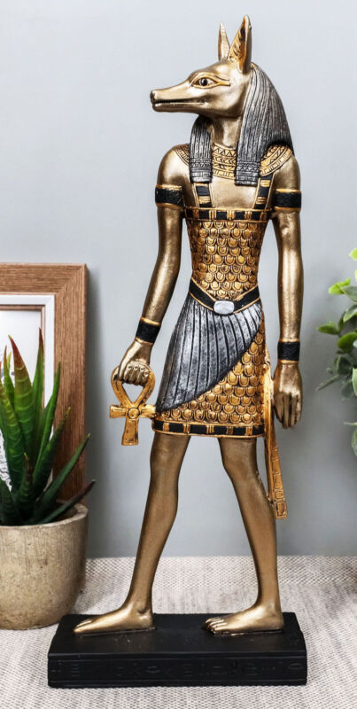 "Egyptian God Of The Dead Anubis Holding Ankh & Staff Slim Profile Figurine 10"" H"
