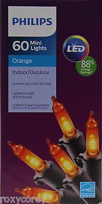 Halloween Philips LED 60 Orange Mini String Lights Black Wire NIB