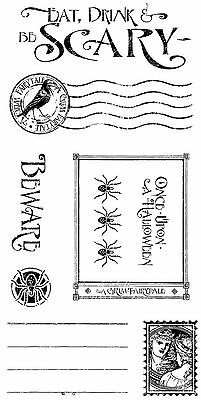 Halloween Grim Fairytale Unmounted Cling Rubber Stamp Set Graphic 45 IC0313 New - Graphic 45 Halloween Stamps