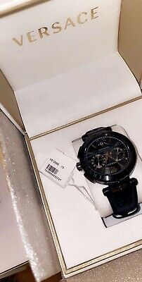 Versace Black Leather Chronograph Watch VE1D00519