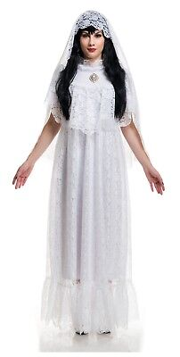 Ghost Bride Costume (Vintage Bride Ghost Victorian White Lace Gown Dress Veil Adult Women's)