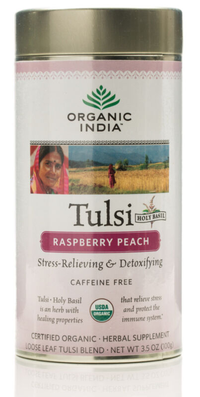 Organic India Tulsi Raspberry Peach Tin 100g
