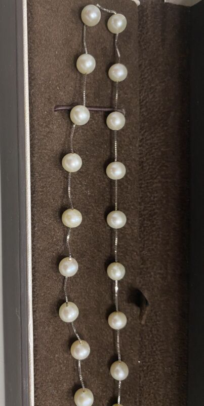 """Estate 10k White Gold Women's 6MM Fresh Water Pearl Necklace Chain 16"""""""
