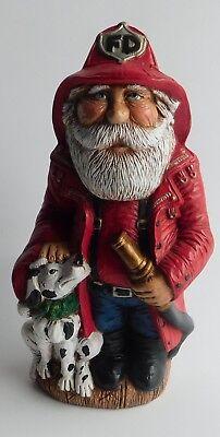 man Santa Claus Holding Hose With Dalmation Figurine 9 1/2