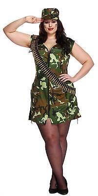 Sexy Army Girl Plus Size Fancy Dress Costume Camo Outfit Size UK 14-16  (Army Girl Kostüm Plus Size)