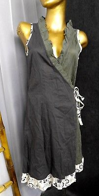 Mail Il Est Ou Le Soleil  Wrap Dress Brown Olive Cotton Ruffle Sz 8