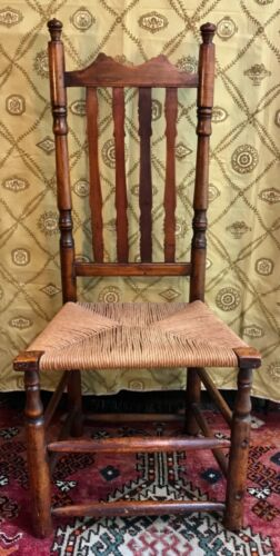 18th Century Early American Banister Back Side Chair with Rush Seat Excellent